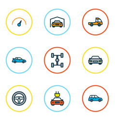 Car icons colored line set with garage wheelbase vector