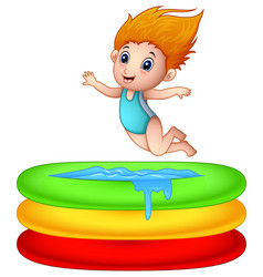 Cartoon girl jumping an inflatable pool vector