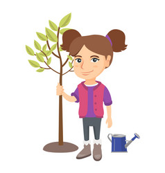 caucasian smiling girl planting a tree vector image