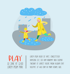 characters people walking in rain poster vector image