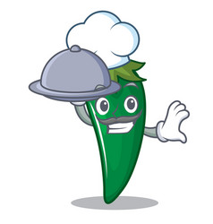 chef with food green chili character cartoon vector image