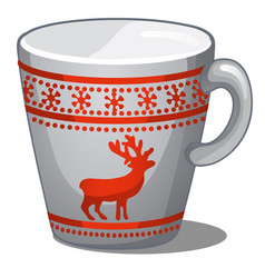 christmas decorated mug with ornaments and deer in vector image