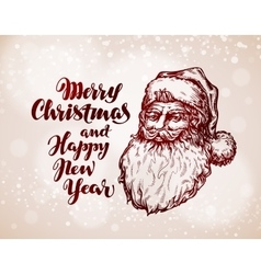 Christmas vintage greeting card Santa Claus vector image