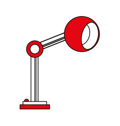 Color silhouette cartoon side view red desk lamp vector