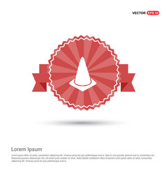 Cone icon - red ribbon banner vector