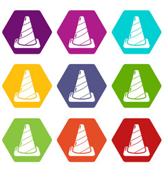 cone road icons set 9 vector image