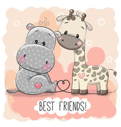 Cute cartoon hippol and giraffe vector