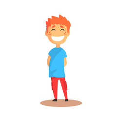 Cute happy laughing boy standing colorful cartoon vector