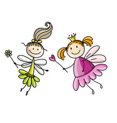 Cute little fairies sketch for your design vector