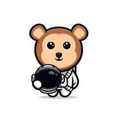 Cute monkey astronaut cartoon mascot vector