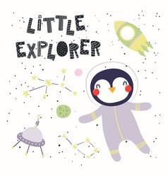 Cute penguin in space vector