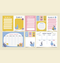 cute set weekly planner to do list and vector image