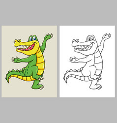 dancing crocodile cartoon character coloring book vector image