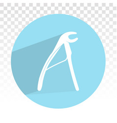 Dental pliers flat icon on a transparent vector