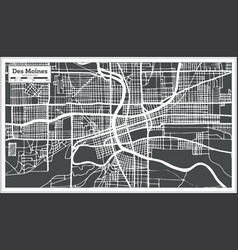Des moines usa city map in retro style outline map vector