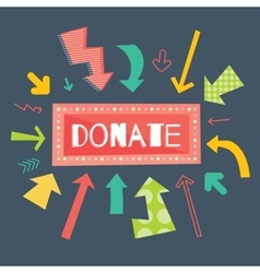 Donate red button with colorful arrows pointing on vector image