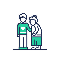elderly people help - modern line icon vector image