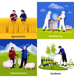 Farmers Gardeners 4 Flat Icons Square vector