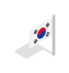 Flag of South Korea icon isometric 3d style vector image