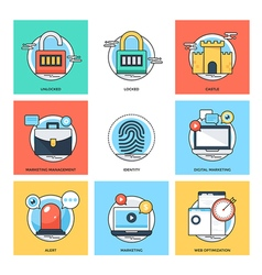 Flat Color Line Design Concepts Icons 34 vector image