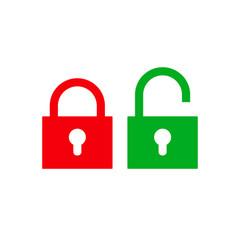 flat lock unlock icon set color style vector image
