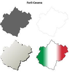 Forli-Cesena blank detailed outline map set vector image
