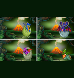 Four scenes with dinosaurs hatching eggs vector