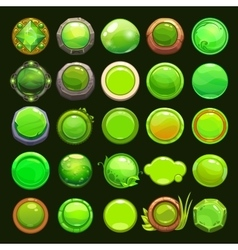 Funny cartoon green round buttons vector