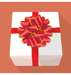 Gift box with re ribbon vector