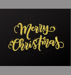 glitter merry christmas typography design vector image