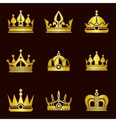 Golden crown set vector