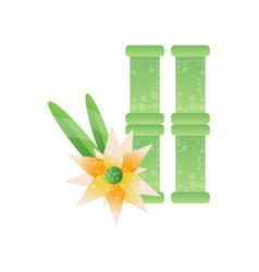 Green bamboo stems and frangipani flower spa vector