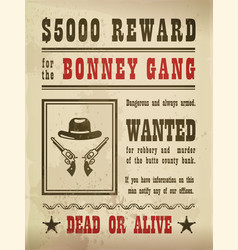 Guns and hat on wanted sign or wild west banner vector