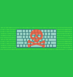 hacked computer banner horizontal flat style vector image