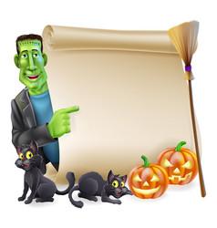 halloween scroll with frankenstein vector image