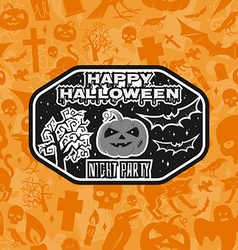 Halloween vintage badge emblem or label vector