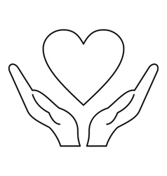 Hands holding heart icon outline style vector