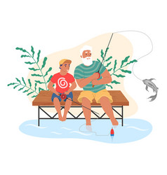 happy grandfather and grandson fishing together vector image