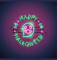 happy halloween neon ghost vector image