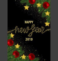 happy new year 2019 card with gold glitter vector image