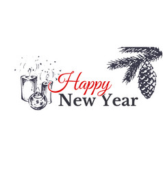 happy new year hand drawn card vector image