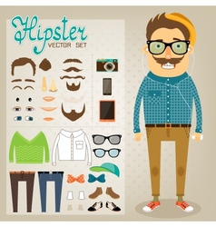 Hipster character pack for geek boy vector