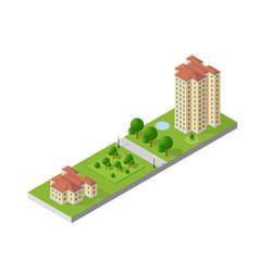 Hotel apartments 3d dimensional building vector