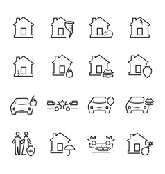 insurance and accidents icon symbols vector image
