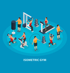 isometric sport and healthy lifestyle concept vector image
