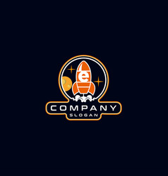 Letter e rocket logo design vector
