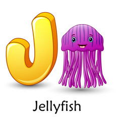 Letter j is for jellyfish cartoon alphabet vector