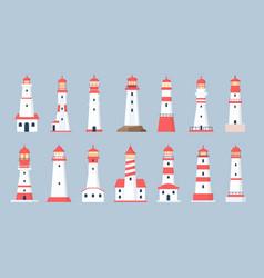 lighthouse towers cartoon sea beacon design vector image
