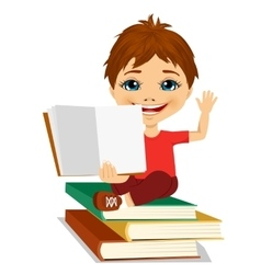Little boy showing an open book vector