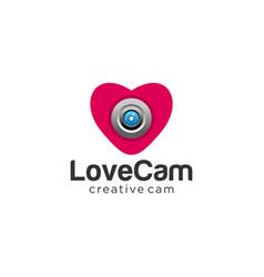love heart camera logo photography logo vector image